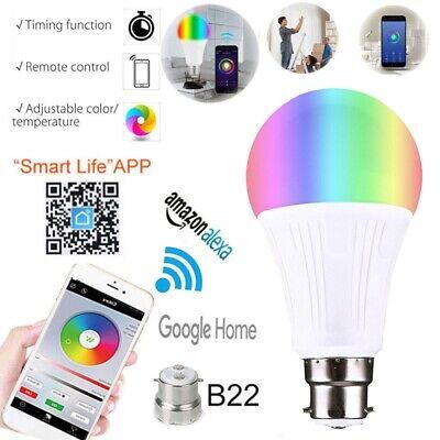 B22 E27 Smart Bulb RGB LED WiFi Light Lamp fits Amazon Alexa Echo Remote Control