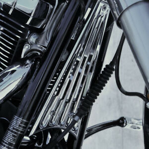 Chrome Deep Cut Front Down Tube Frame Cover Grill Harley touring