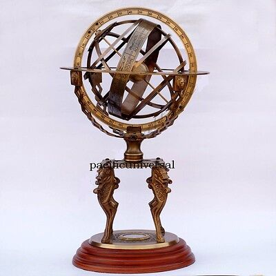 Solid Brass Large Engraved Nautical Sphere Globe Armillary Sundial Compass.