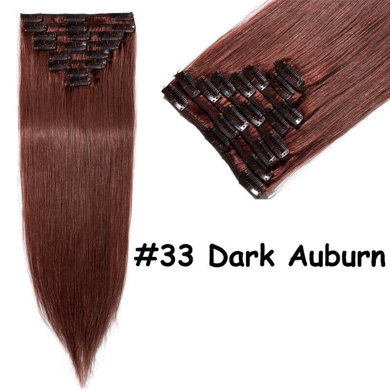 50CM 60CM Echthaar Clip In Extensions Remy Haar Haarverlängerung 8 teilig Set DE #33 Rotbraun