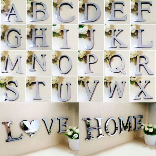 Home Decoration - 3D Mirror Wall Sticker 26 Letters Art Mural Home Room Decor Acrylic Decals gift