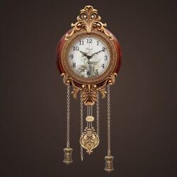 New Antique Wood Wall Clock European Classic Metal Artwork Non-ticking Silent