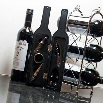 Luxury Wine Accessory Gift Set in Wine Bottle Shaped Case, Corkscrew, Stopper