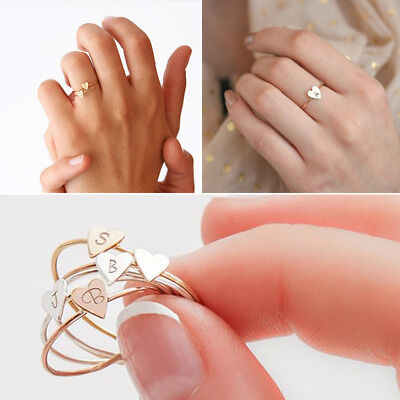 Fashion Gold Silver Best Friend Letter Love Peach Heart Hollow Out Ring