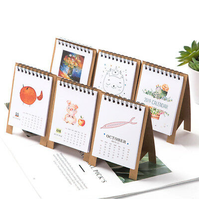 2019 Year Kawaii Cartoon Table Calendars Mini Table Calendar Agenda Organizer