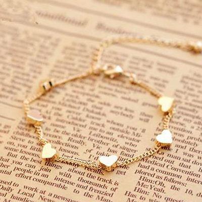 Charm Gold Chain Anklet Heart Bracelet Barefoot Sandal Beach Foot Bangle