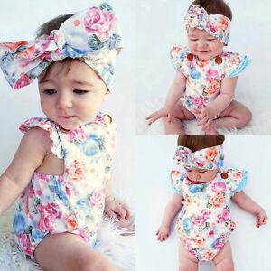 bebe-nina-verano-ropa-flor-floral-BODY-PELELE-Banda-Para-Cabeza-Braga-Set