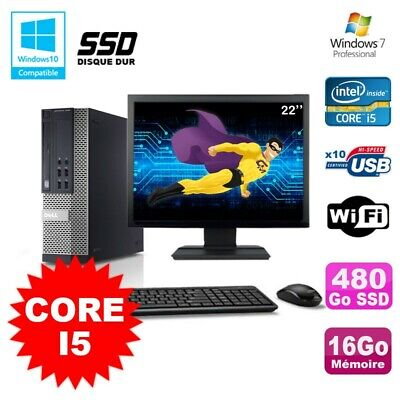 Lot PC Dell 7010 SFF Core I5 2400 3.1GHz 16Go 480Go SSD Wifi W7 + Ecran 22