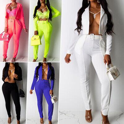 Womens Formal Suits Casual Blazer Coat +Long Pant 2 Pcs Set Office Workout Sets