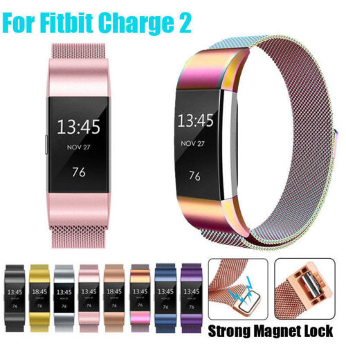 For FitBit Charge 2 Wristband Metal Stainless Milanese Magne
