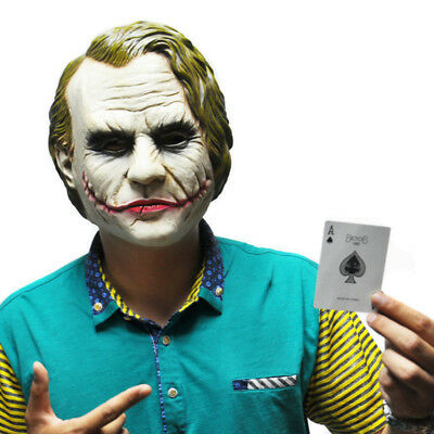 C Clown Halloween (Halloween Batman Joker Clown C Latex Mask Costume Cosplay Movie Adult Party)