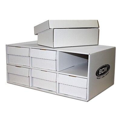 1 Cardboard Sports Card House With Six 2 Row 1600ct Storage Boxes Stackable