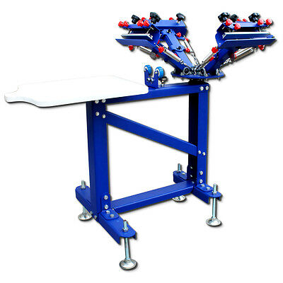 4 Color Screen Printing Press Floor Type Metal Stand Printer Micro-adjust Machin