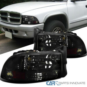 97-04 Dodge Dakota Durango Replacement Chrome Smoke 1PC Headlights Lamps Pair