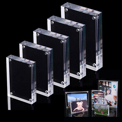 Double-faced Clear Crystal Photo Frame Desk Set Acrylic Magnet Picture](Magnetic Photo Frame)