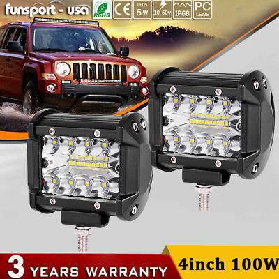 2x 7D 4Inch 100W LED Light Bar Combo Jeep SUV Truck Bumper Driving Fog Offroad