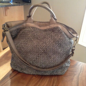 Large Woven Purse, Genuine Leather