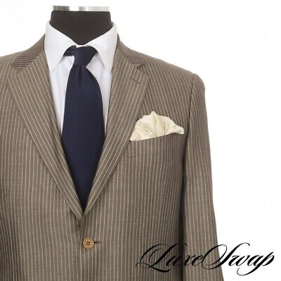 #1 MENSWEAR Canali Brown Label Made in Italy 42% SILK Shimmer Pinstripe Suit 54