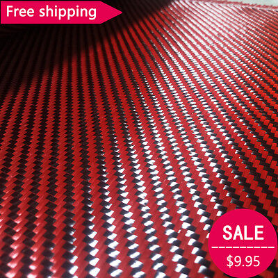 Carbon Fiber Red Kevlar Mixed Fabric Carbon Aramid Cloth 30cm Wide 200gsm