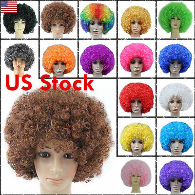 Adult Children Colorful Costume Ball Party Carnival Clown Wigs Football Fan Wig (Football Fan Halloween Costumes)