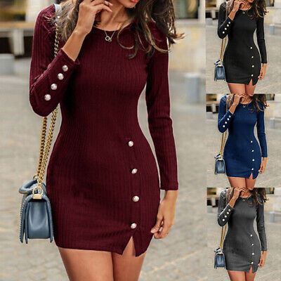 Womens Bodycon Mini Dress Knit Sweater Side Split Evening Party Tunic Wrap Dress