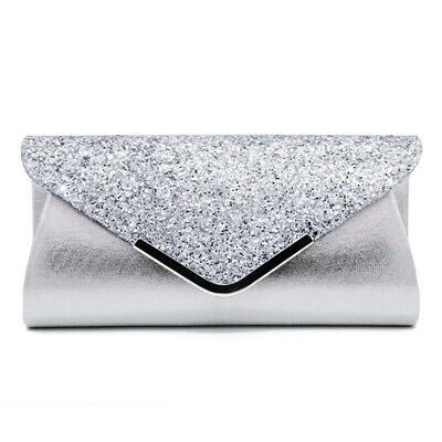 Women Silver Glitter Sequin Clutch Bag Ladies Evening Party Prom Handbag Purse