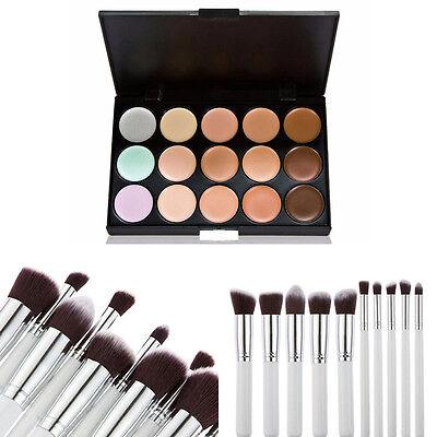 Neu 10X Make-Up Profi Pinsel Set + Kosmeti 15 Farbe Makeup Concealer Palette DE