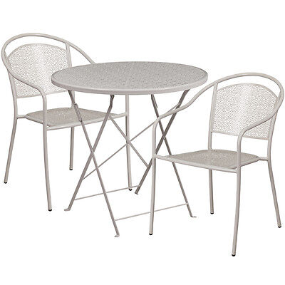 30 Round Light Gray Indoor-outdoor Folding Patio Resturant Table Set W2 Chair