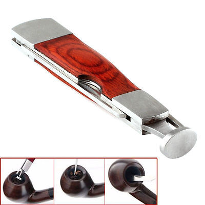 Pipe Cleaning Tool 3in1 Red Wood Tobacco Smoking Stainless Steel  US SELLER :)