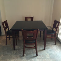 Hardwood dining table with 4 chairs