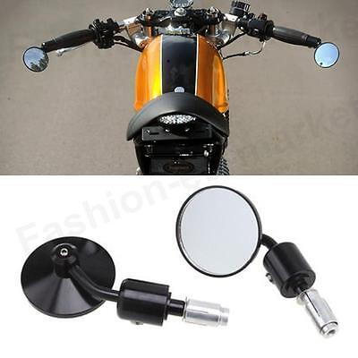 CUSTOM CAFE RACER ROUND HANDLE BAR END MOTORCYCLE MIRRORS MOTORBIKE CNC MACHINED