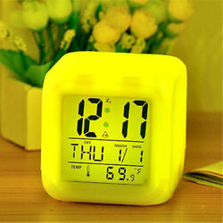 Multi-Funtional Cube 7 Color LED Change Digital Glowing Morning Alarm Clock A9IP