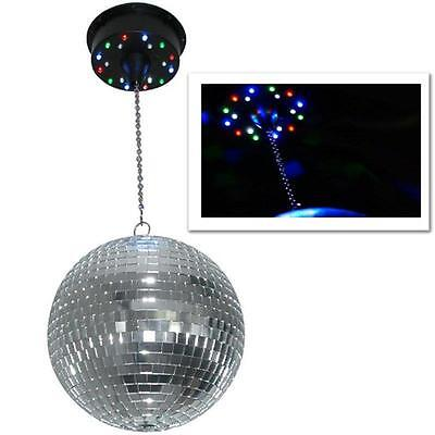 ROTATING DISCO MIRROR BALL CEILING MOUNT 18 LED LIGHTS PARTY STAGE DJ