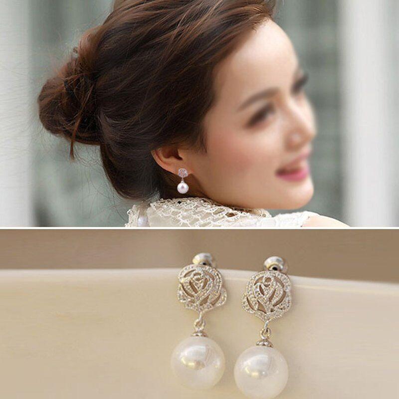 Luxurious Women Glass Crystal Pearl Ear Stud Earring Drop Dangle Fashion Jewelry