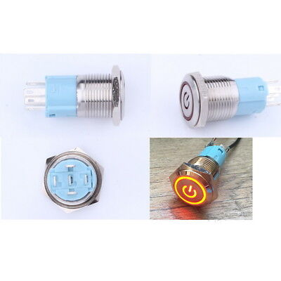 16mm 5-220v Car Led Power Push Button Metal Onoff Switch Latching Waterproof