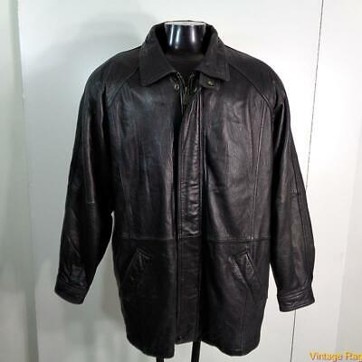 MAX AMERICA Lambskin LEATHER JACKET Coat Mens Size L Black zippered insulated