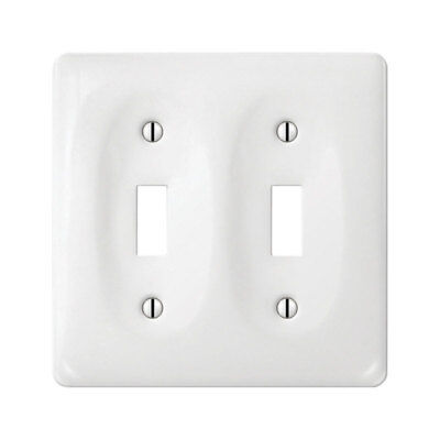 Amerelle  Allena  2 Gang White  Ceramic  Toggle  Wall Plate  1 Pk
