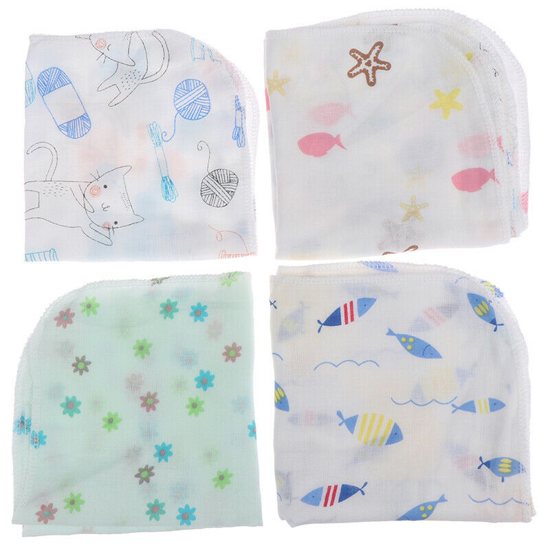 Cartoon Baby Handkerchief Square Pattern Towel Washed Cotton Infant Face Tow S - $3.82
