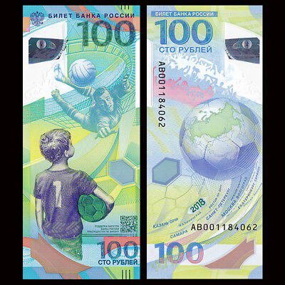 Russia 100 Rubles, FIFA World Cup, 2018, P-NEW, Polymer, COMM. UNC