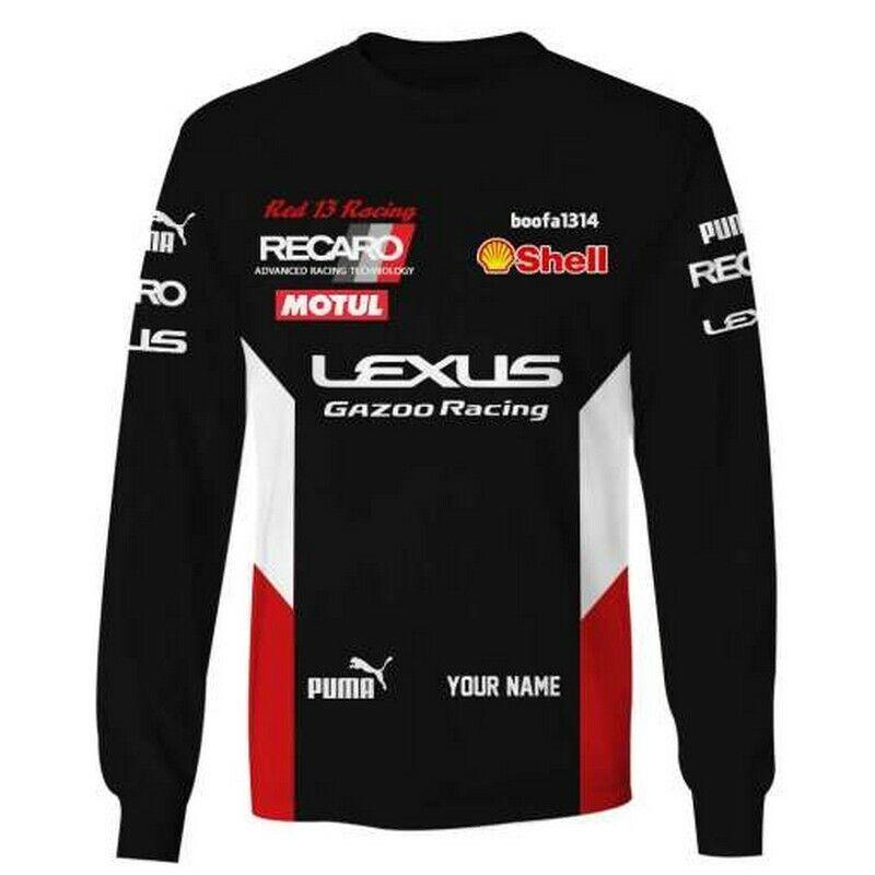 Lexus Gazoo Custom Name 3D Long Sleeve T Shirt Motosport Racing For Men s - $26.99