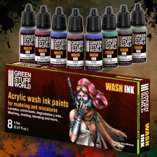 Set x8 Acrylic WASH INK Paints 17ml - Intensity Airbrush Brush Figures Miniature