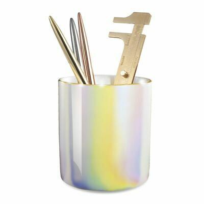 Ceramic Pen Holder Marble Pencil Cup Desk Organizer Gold Accent Pearl White