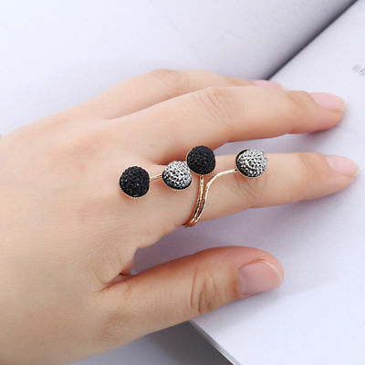Fashion Resin Ring Silver/Gold Colors Retro Joint Finger Ring Woman (Silver Joint)