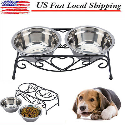 Double Stainless Steel Dog Cat  Bowl Double Dinner Feeding Food Water Bowl