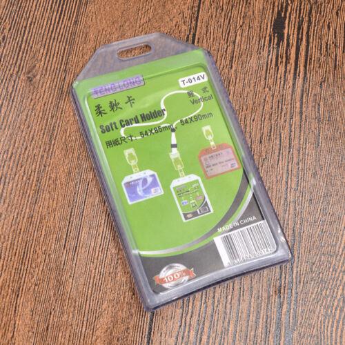 10x Clear Plastic Vertical Waterproof Name Tag  Zipper ID Card Holder VH