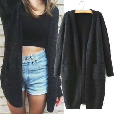 - Women Knitted Cardigan Long Sleeve Loose Sweater Autumn Casual Outwear Coat Tops