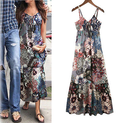 Women Floral Boho Dress Long Cocktail Beach Halter Maxi Sexy Dress Sundress ZS01