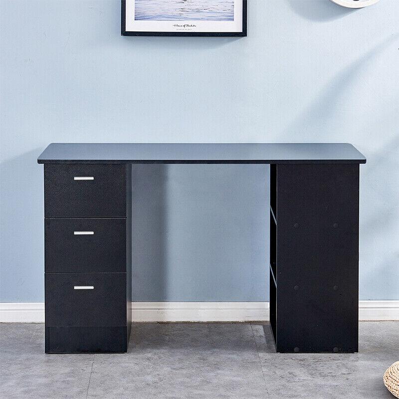 Black Computer Desk W 3 Drawers, Black Desk With Shelves