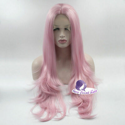Ladies Halloween Wigs (US 60 CM Pink Long Wavy Lady Halloween Heat Resistant New Lace Front)