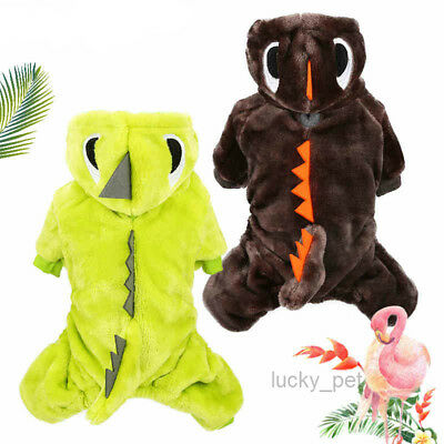 Winter Dog Jumpsuit Thick Pet Clothes Small Puppy Apparel Dinosaur Costume Coat - Dinosaur Dog Costume